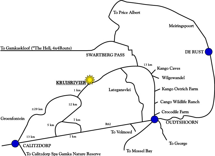 Map to Kruisrivier Guest Farm